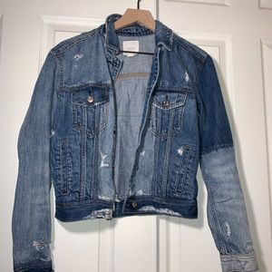 American Eagle Distressed Ripped Denim Jean Jacket